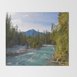 Maligne River & Pyramid Mountain in Jasper National Park, Canada Throw Blanket