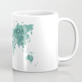 World map in watercolor green Coffee Mug