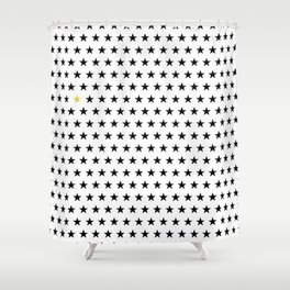 Black stars pattern with single golden star on white Shower Curtain