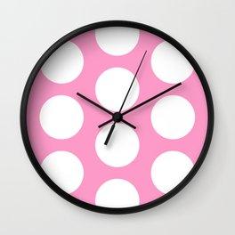 White circles on pink Wall Clock