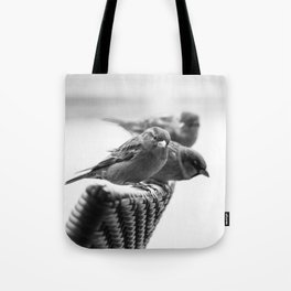 Sparrows On Chair Back Tote Bag