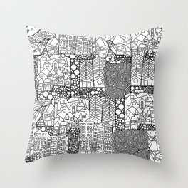 Doodle and the city Throw Pillow