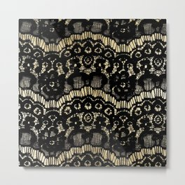 Luxury chic faux gold black floral french lace  Metal Print