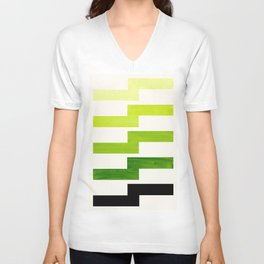 Minimalist Mid Century Modern Sap Green Watercolor Painting Lightning Bolt Zig Zag Pattern With Blac Unisex V-Neck