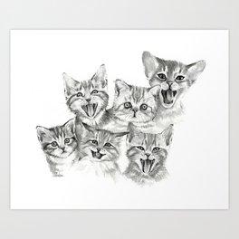 Kittens Pattern Cute Meowing Cats Art Print