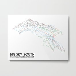 Big Sky, MT - Southern Exposure - Minimalist Trail Map Metal Print