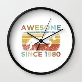 """Birthday Shirt For Those Whose Birthday Is Coming Near """"Awesome Since 1980"""" T-shirt Design Kiss Wall Clock"""