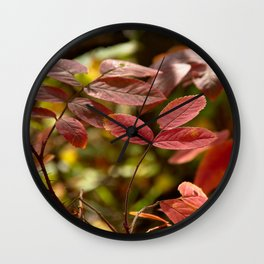 Leaves in Red Wall Clock