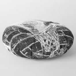 Black and white basketball artwork Floor Pillow