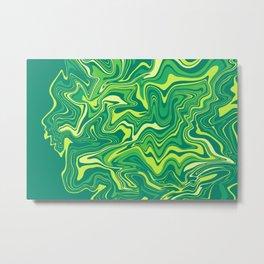 Green Nature Liquid Agate Metal Print