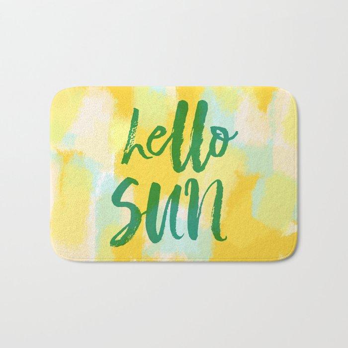 Hello Sun - Sunny yellow abstract Bath Mat