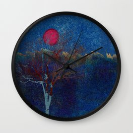 Abstract watercolor landscape with tree Wall Clock