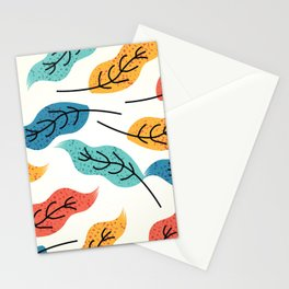 Colorful Autumn Leaves Illustration Stationery Cards