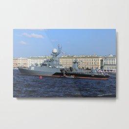 "The military battleship ""Kazanec"" 311. Neva River. Day of the Russian Navy. Metal Print"