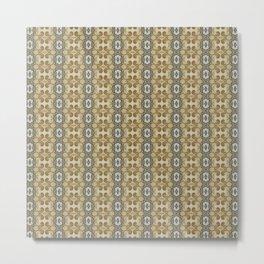 yellow floral striped pattern Metal Print