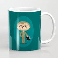 woody allen Mugs featuring Woody Allen by Sombras Blancas Art & Design