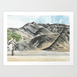 Watercolour and pen mountains. Art Print