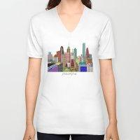 philadelphia V-neck T-shirts featuring Philadelphia city sklyine by bri.buckley