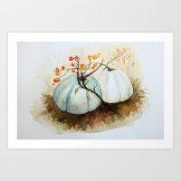 craftberrybush Art Prints featuring Pumpkin Patch - Watercolor by craftberrybush