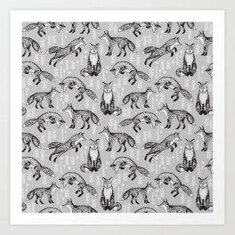 Fox pattern drawing foxes cute andrea lauren grey forest animals woodland nursery Art Print