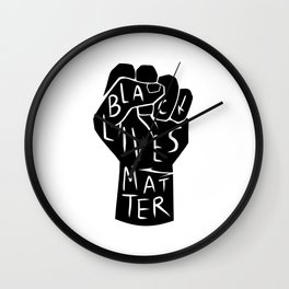black lives matter | black power fist (in black) Wall Clock