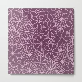 Stylized Flower Bunch Pink & Plum Metal Print