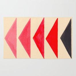 Vintage Scandinavian Red Geometric Triangle Pattern Rug