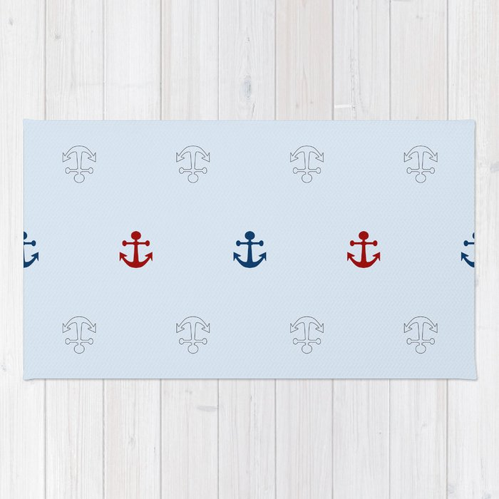 Seamless pattern with anchors Rug