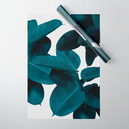 Indigo Blue Plant Leaves Wrapping Paper