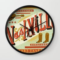 nashville Wall Clocks featuring Nashville by Mary Kate McDevitt