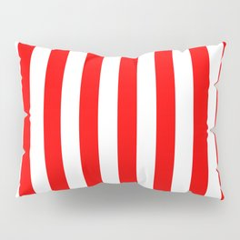 Narrow Vertical Stripes - White and Red Pillow Sham