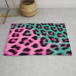 Hot Pink and Aqua Leopard Spots Rug