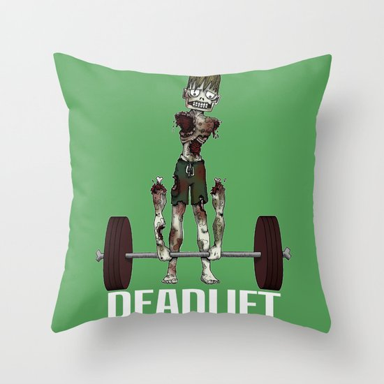 Crossfit Zombie by RonkyTonk doing Deadlift Throw Pillow