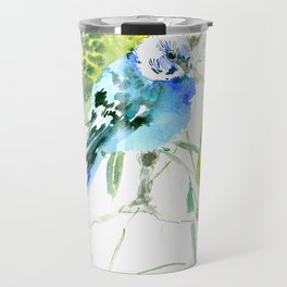 Parakeets green yellow blue bird decor Travel Mug