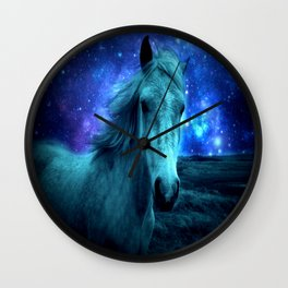 Teal Horse Blue Violet Galaxy Skies Wall Clock