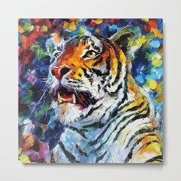 Oil Tiger Metal Print