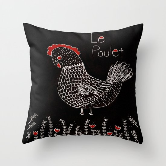 Le Poulet Throw Pillow