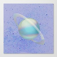 holographic Canvas Prints featuring Holographic Saturn by trendmae