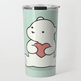 Kawaii Cute Polar Bear With Heart Travel Mug