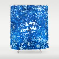 merry christmas Shower Curtains featuring Merry Christmas  by Judy Palkimas