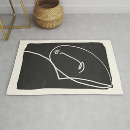 Abstract Face Minimalist Line Drawing Rug