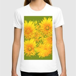 ABSTRACTED MOSS GREEN  FIRST SPRING YELLOW DANDELIONS T-shirt