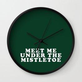 Christmas Mistletoe Kiss Dark Green Wall Clock