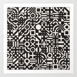 Black and White Irregular Geometric Pattern Print Design Art Print