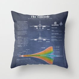 Concorde Supersonic Airliner Blueprint (dark blue) Throw Pillow