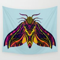 hawk Wall Tapestries featuring Elephant Hawk Moth by Karl James Mountford