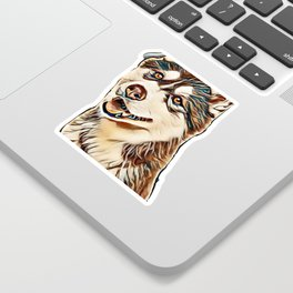Portrait of a pretty husky dog looking away with mouth open isolated on a white background in a vert Sticker