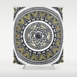 Golden Eye Mandala Shower Curtain