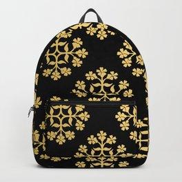 Gold on Black Repeating Tile Digital Design Backpack