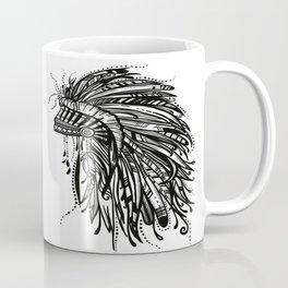 Native American Indian Headdress Warbonnet Black and White Coffee Mug
